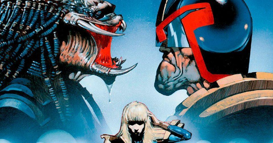 Обложка комикса хищник против судьи дредда 2