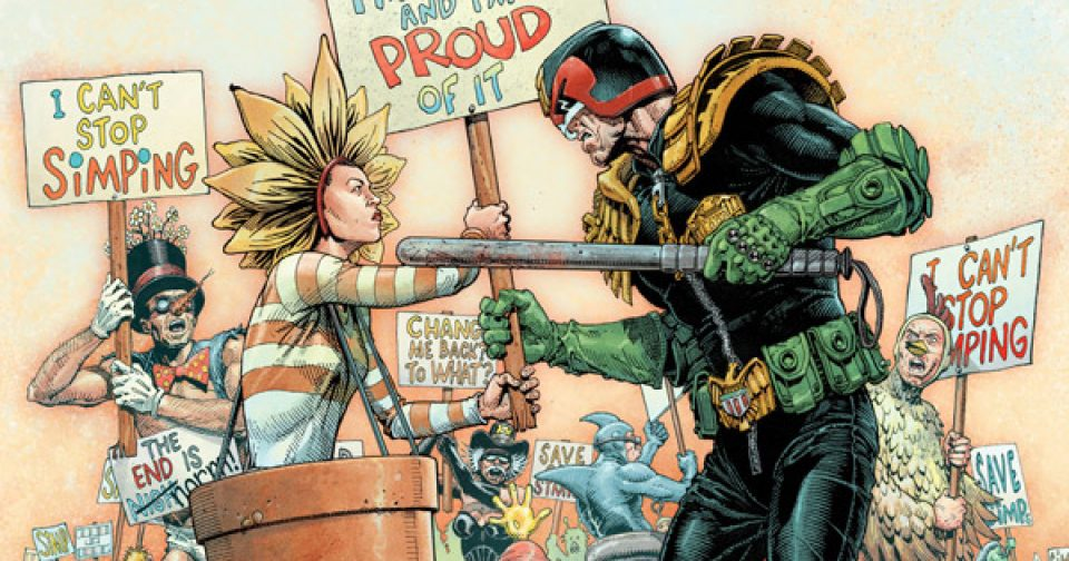 Обложка журнала 2000 ad #2207 с судьёй Дреддом