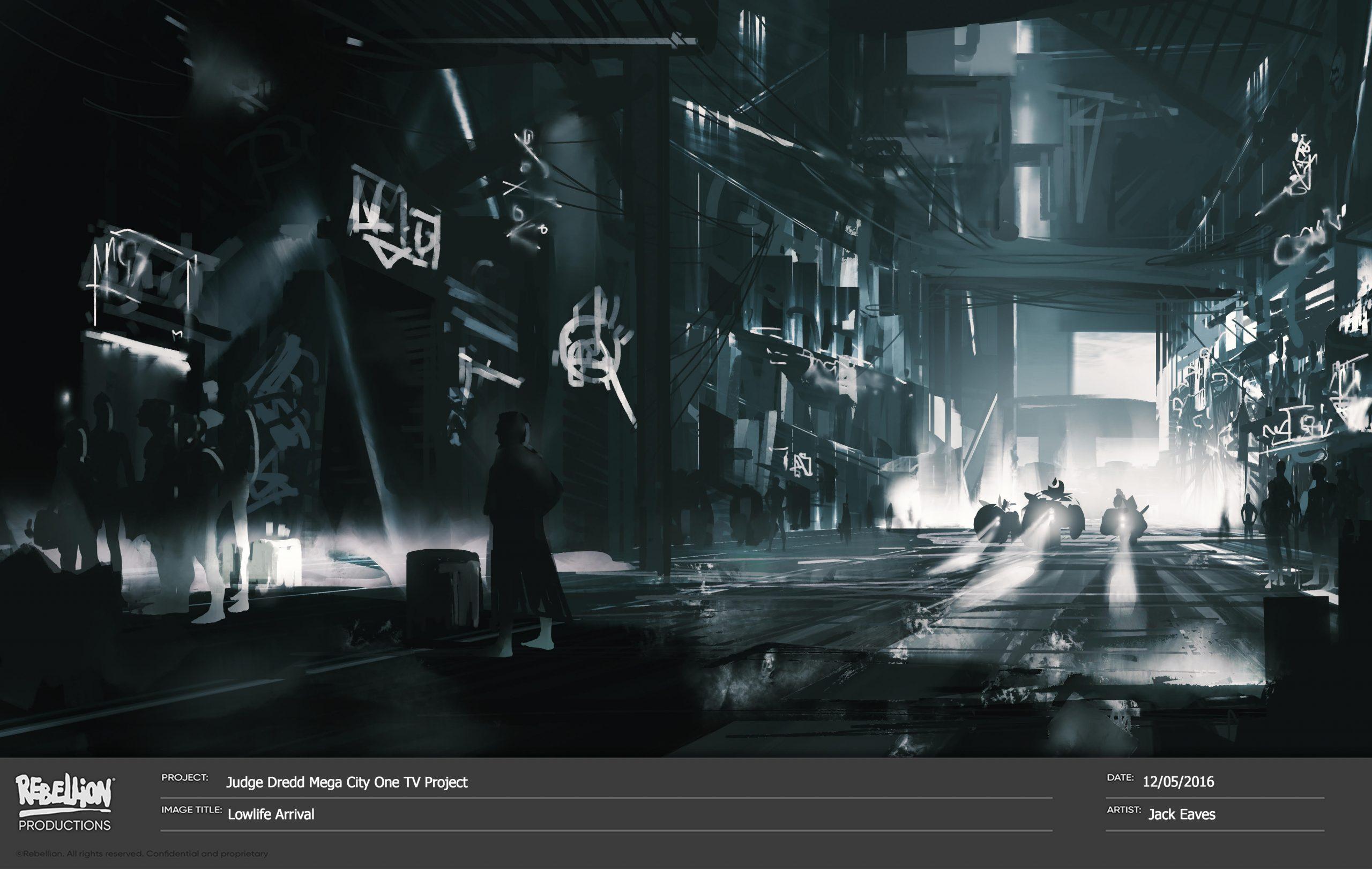 судья дредд мега-сити‑1 концепт-арт «Прибытие в трущобы»